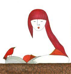 lectora - acuarela sobre papel / Sofía Moreno Aliste