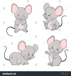 Set of cute little cartoon mice. Cartoon Drawings Of Animals, Cute Animal Drawings, Animal Sketches, Cute Drawings, Mouse Pictures, Monkey Doll, Mouse Crafts, Love Doodles, Pet Mice