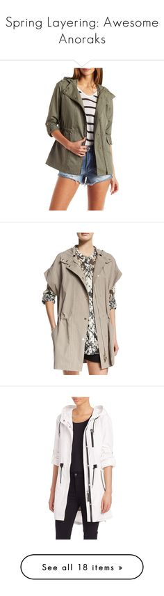 """""""Spring Layering: Awesome Anoraks"""" by polyvore-editorial ❤ liked on Polyvore featuring anoraks, outerwear, olive, hooded anorak, charlotte russe, olive anorak, anorak coat, hooded anorak jacket, jackets and dune"""