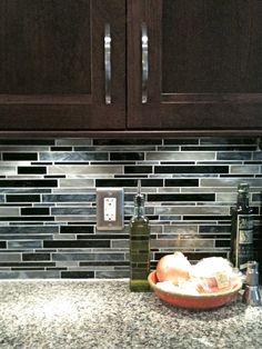 stained glass backsplash for kitchen. dark cabinets