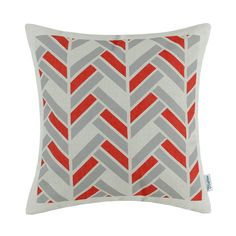 "CaliTime Decorative Pillows Shell Cushion Cover Home Sofa Car Red Gray Fancy Stripes 18"" X 18""(45cm X 45cm)"