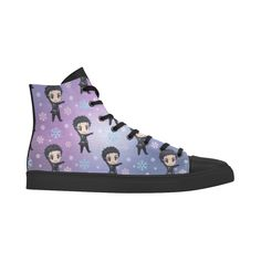 Yuri On Ice Pattern Andromeda High Top Action Leather Women's Shoes (Model 305)