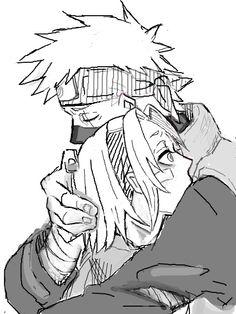 Kakashi hugging Sakura. It's a father-daughter relationship dang it! <------You're so silly
