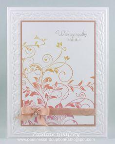 Pauline Godfrey, Pauline's Card Cupboard: Hero Arts Leafy Vine; Stampin' Up! embossing folder; Brilliance tri-color ink pad Aurora; Papertrey sentiment