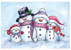 Snowmen on www.addictedtorubberstamps.com