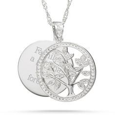 Our personalized Sterling Silver Family Tree Necklace is a valuable reminder of the importance of family. This elegant necklace features tree charm with glistening pave accents. Engrave names, a monogram or special message on the back of the tree charm to make a meaningful gift.  https://www.thingsremembered.com/silver-family-tree-necklace/product/350259?fcref=pinterest