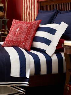 make bandana pillows to look like. Ralph Lauren Bedding - University Tate Collection - Navy & White Stripe