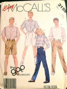 McCalls 3159 1980s Mens Misses Teen Shirt Pants Shorts THE GAP unisex vintage sewing pattern by mbchills