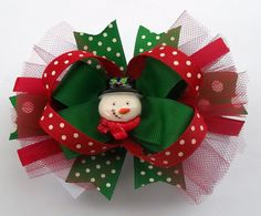 Christmas Snowman Boutique Style Hair Bow  by JustinesBoutiqueBows, $6.95