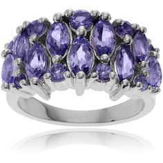 Journee Collection Sterling Silver Tanzanite Ring ($106) ❤ liked on Polyvore featuring jewelry, rings, purple, anniversary rings, sterling silver band rings, thin rings, purple rings and band rings
