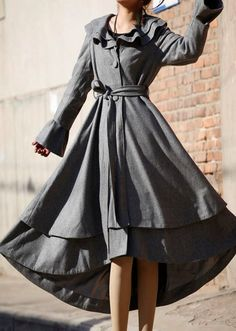 gray winter coat long wool coat ruffled collar coat by xiaolizi