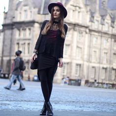 Shop this look on Kaleidoscope (sweater, skirt, hat, bootie)  http://kalei.do/WaJNGhgbsBE5zkLB