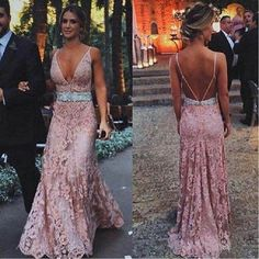 Blush pink prom Dresses,lace prom dress,long evening gowns,lace prom · Happybridal · Online Store Powered by Storenvy Open Back Prom Dresses, Backless Prom Dresses, Lace Evening Gowns, Formal Evening Dresses, Dress Formal, Formal Prom, Prom Long, Short Prom, Blush Pink Prom Dresses