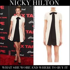 Nicky Hilton in white and black contrast scalloped mini dress #fashion #style #nickyhilton #dress #valentino #black #white
