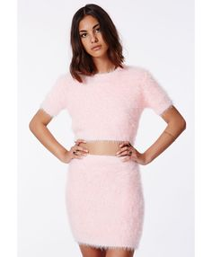 Ashlyn Fluffy Knit Mini Skirt Baby Pink - Skirts - Missguided