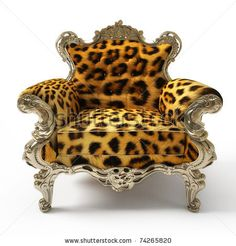 Luxurious armchair with leopard fur, isolated on white background by Karen Katrjyan, via ShutterStock