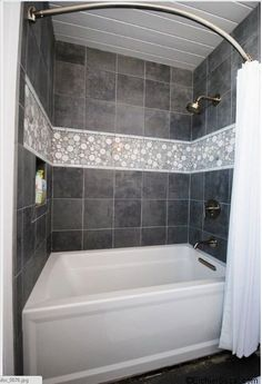 Mid Century Modern Bathroom using Light Grey Moonstone Mosaic Shower tile. https://www.pebbletileshop.com/products/Light-Grey-Moon-Mosaic-Tile.html#.VZw5R_lViko