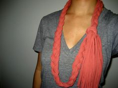 THIS OLD DRESS: DIY recycled t shirt braided scarf tutorial
