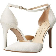 Jessica Simpson Cirrus (Powder) High Heels ($38) via Polyvore featuring shoes, pumps, beige, wrap shoes, ankle tie pumps, beige shoes, beige pumps and fleece-lined shoes