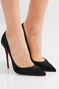 Heel measures approximately 120mm/ 5 inches Black suede Slip on Made in ItalySmall to size. See Size & Fit notes.