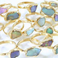 Raw Opal Ring Opal Ring OpalBirthstoneBridesmaid by inbalmishan