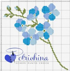 fiore di lino - schema punto croce - cross Stitch - Kreuzstich - Punto de Cruz