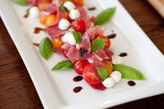 This is an easy antipasti course that uses garden fresh tomatoes, mozzarella, and coppa, a delicious cured pork that has a distinctive flavor and texture. Healthy Salad Recipes, Whole Food Recipes, Appetizer Recipes, Appetizers, Food Plating, Soup And Salad, Caprese Salad, Summer Recipes, Delish