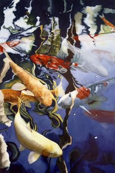 """Reflections"", Original Watercolor: SOLD, 19.5"" x 29"" unframed,28 x 38"" framed, by Kathleen Alexander"
