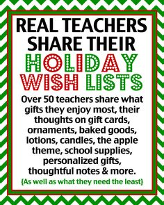 Real #teachers share what is really on their #gift lists - over 50 teachers shared their opinions of what they want, need and can do without.  At @LoveFromTheOven