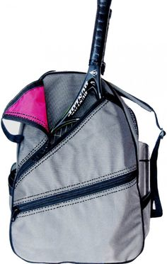 SlamGlam - Maggie Mather Silver Maggie Tennis Backpack Bag.  Maggie BackPack is lightweight yet resilient. Great gift for Holiday!!!