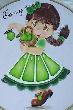 Menina maçã  verde