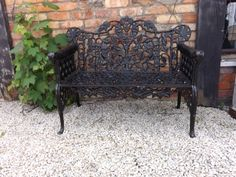 Very detailed cast iron bench with floral leaf design throughout. Cast Iron Bench, Pub Interior, Leaf Design, Outdoor Furniture, Outdoor Decor, It Cast, Backyard, Interiors, Cool Stuff