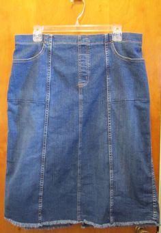 Denim & Co. Womens Large Pull On Modest Denim Blue Jean Skirt Elastic Waist QVC #DenimCompany #StraightPencil