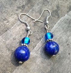 Blue Lapis Lazuli Earrings by TripIntoLight on Etsy, $8.00