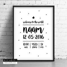 Gepersonaliseerde poster met geboortedetails van je kleintje! Leuk om zelf op de babykamer in te lijsten of op te hangen met washitape. Ook leuk als kraamkado, persoonlijk en uniek. Verkrijgbaar in A4 en A3 formaat! www.nuki-nuby.nl