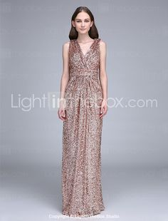 Lanting Bride Floor-length Sequined Bridesmaid Dress Sheath / Column V-neck with Ruching / Sequins 2016 - £76.99