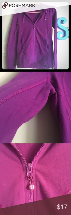 Lululemon Magenta Hoodie Jacket Preloved condition but has some life left in it! Small pills on fabric as shown in pics. Worn shown on zippers. Beautiful purple/magenta color. I would keep it but I have others that I wear more often. Note small stain on sleeve. lululemon athletica Jackets & Coats