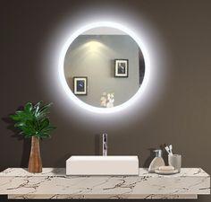 Best Lighted Vanity Mirror, Designer Lighted Bathroom Mirror and Led Backlit Mirror. Ideas for Remodel Mirror with Lights. Backlit Bathroom Mirror, Led Mirror, Bathroom Light Fixtures, Oval Mirror, Mirror With Lights, Round Mirrors, Master Bathroom, Bathroom Lighting, Lighted Mirror