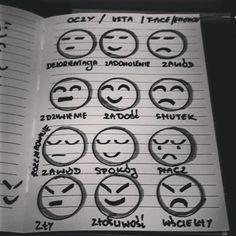 Emocje rysowanie za pomocą kilku kresek.