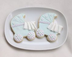 Decorated Sugar Cookies | Baby Carriage with Blanket | Baby Buggy