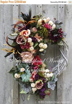 Victorian Wreath, Designer Floral Wreath, Spring Wreath, Tuscany Wreath, Elegant Wreath, Luxury Wreath, Easter Wreath, Victorian Garden  Tuscany Romance Garden Wreath. A magnificent collection of lush Roses, Wisteria, Peonies, Hydrangea and Mums in delicate blush, creamy ivory, salmon, plum and opulent purples mingle with wildflowers, abundant greenery, grape clusters and feather plumes, set upon a whitewashed rustic grapevine frame. Extra full and exquisitely detailed. An absolutely…