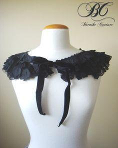 Handmade Victorian Gothic Black Lace and Organza Ruffle Cowl cape capelet collar shrug scarflette neckwarmer peplum Free Shipping #fashion #apparel #etsyfollow $60.00