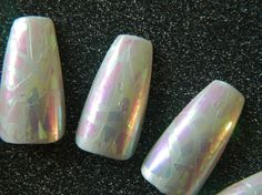 Shattered Glass Coffin Style False Nails. by OutOfTheCanon on Etsy