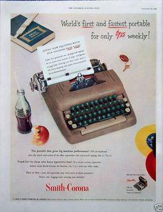 Smith Corona Typewriter Coca Cola Coke Bottle (1952)