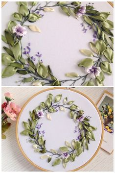 Elegant Floral wreath Silk ribbons embroidery art It embroidered on white gabardine fabric background with hand dyed ribbons, DMC threads and framed in wooden hoop inch. The back side is closed and neatly decorated with a fabric. The miniature will be Ribbon Embroidery Tutorial, Silk Ribbon Embroidery, Embroidery Hoop Art, Embroidery Stitches, Embroidery Patterns, Embroidery Techniques, Embroidery Tattoo, Embroidery Supplies, Embroidery Services
