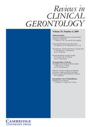 Reviews in Clinical Gerontology - http://journals.cambridge.org/rcg