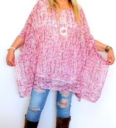 Tunique forme poncho grande taille rose soo by sophie