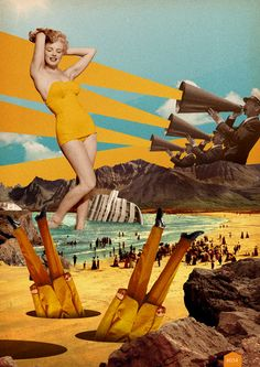 I enjoy this because it shows the military with a feel of freedom from Marilyn Monroe being there. Theres a toss up with confusion and lust. vintage, yellow. #art, #collage