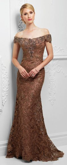 Off-the-shoulder tulle and embroidered lace slim A-line gown with front and back hand-beaded lace necklines, scalloped lace hemline, slight sweep train.