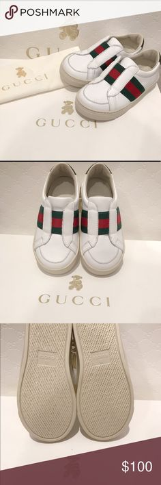 Gucci Toddler/Children Unisex Slip Ons These shoes belong to my daughter that she no longer fits into. These leather Slip Ons are brand new! It comes with original box, and dust bag. Shoes were purchased at the store for $250+ and are guaranteed to be authentic Gucci Shoes Baby & Walker